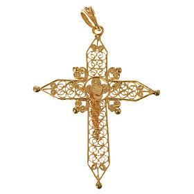 Croce a punta Argento 800 dorato s2
