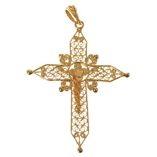 Croce a punta Argento 800 dorato 5