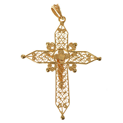 Croce a punta Argento 800 dorato 2