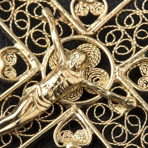 Croce a punta Argento 800 dorato 3