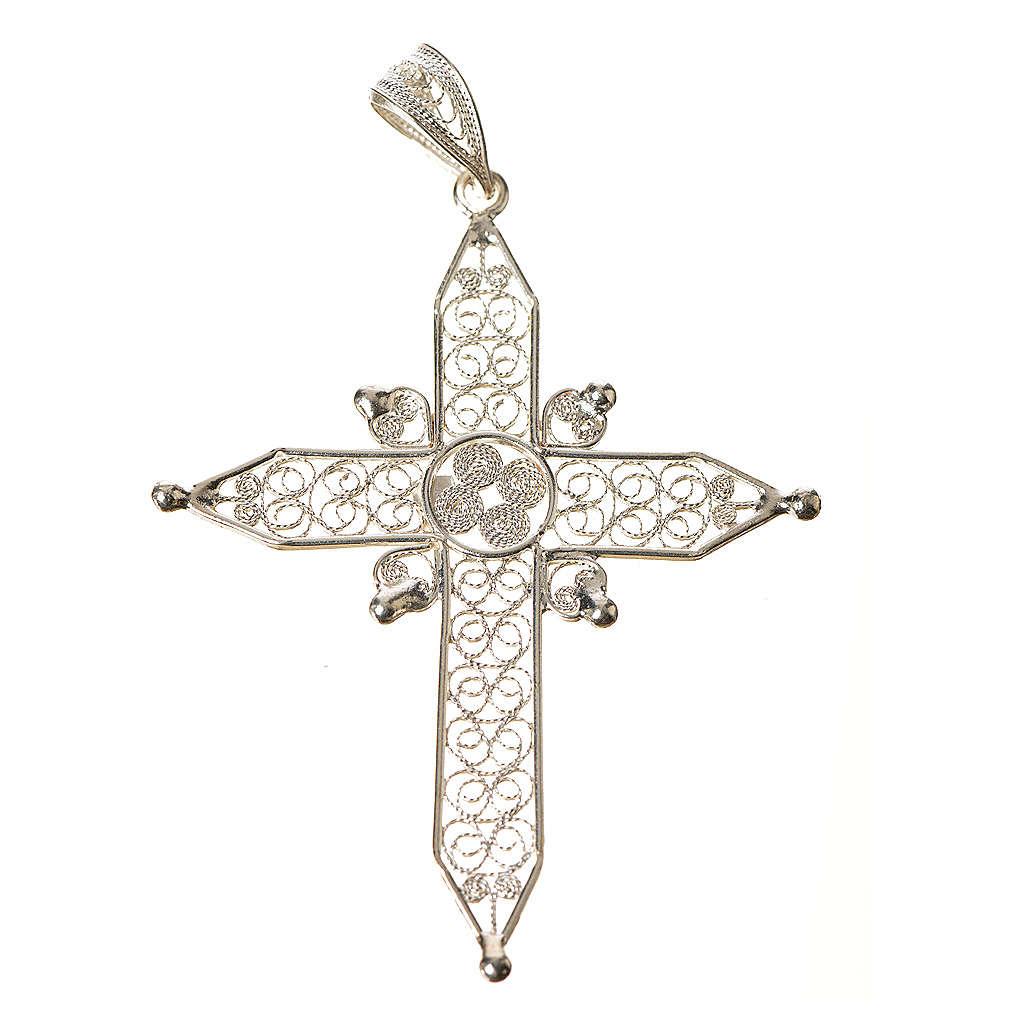 Croix pointes en filigrane d'argent 800 4