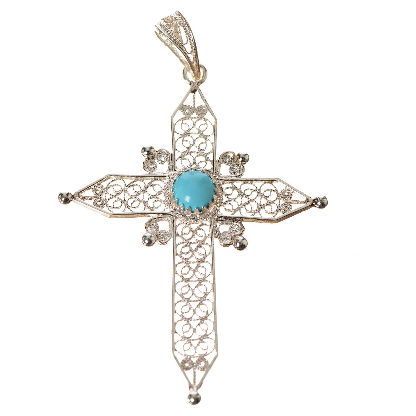 Croce a punta Argento 800 e turchese 4