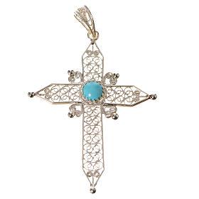 Croce a punta Argento 800 e turchese s3