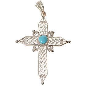 Croce a punta Argento 800 e turchese s1