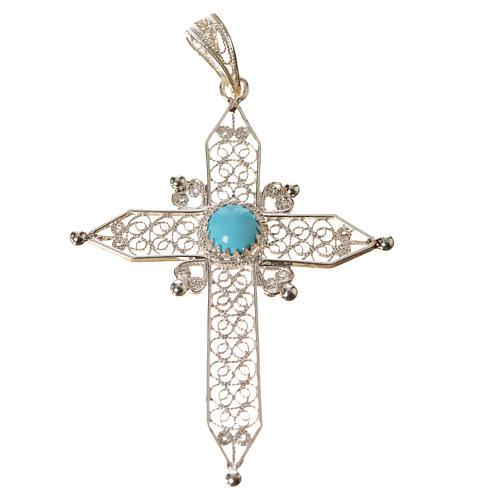 Croce a punta Argento 800 e turchese 3