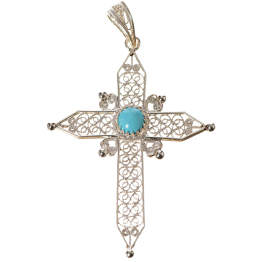 Pointed cross pendant in silver 800 with turquoise 4