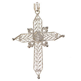 Pointed cross pendant in silver 800 with turquoise s2