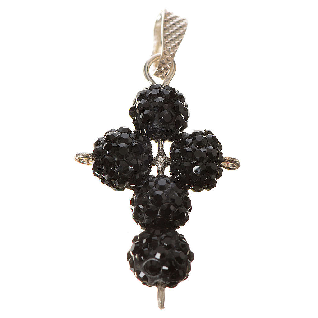Croix avec perles Swarovski noires 2,5x1,5 cm 4