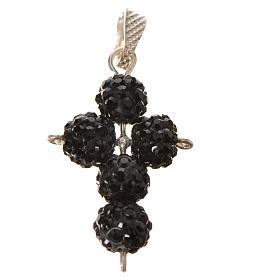 Croix avec perles Swarovski noires 2,5x1,5 cm s3