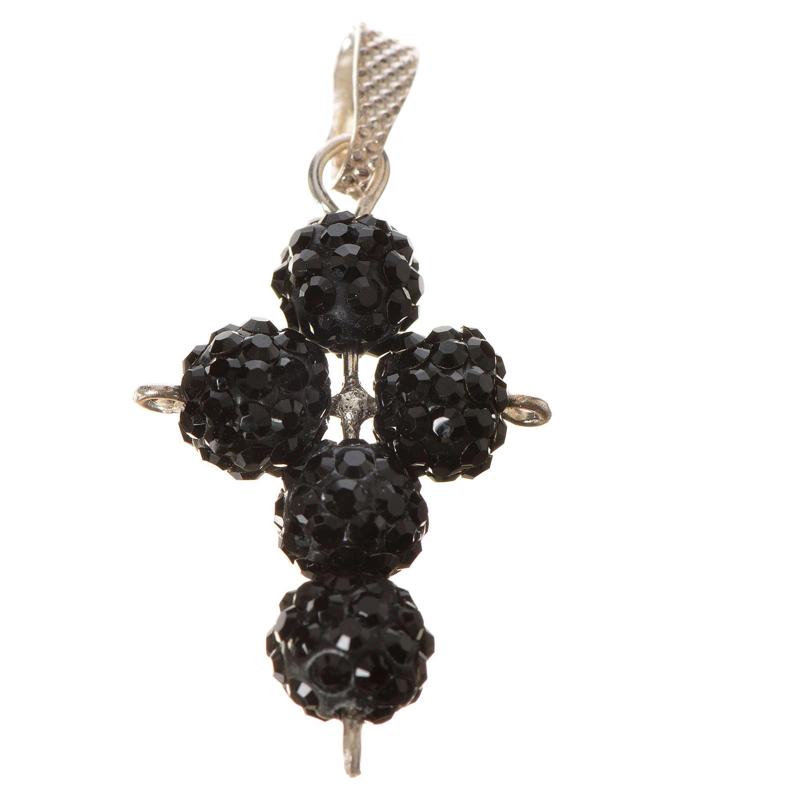 Cross with Black Swarovski pearls, 2,5 x 1,5 cm 4