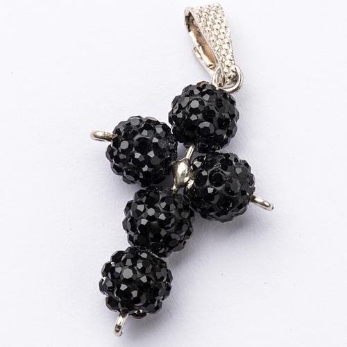 Cross with Black Swarovski pearls, 2,5 x 1,5 cm 1