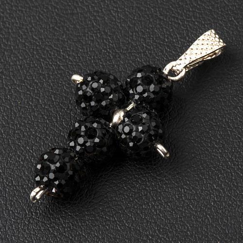Cross with Black Swarovski pearls, 2,5 x 1,5 cm 3