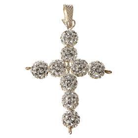 Croce con perle Swarovski bianco 3x3,5 cm s4