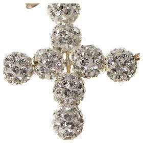 Croce con perle Swarovski bianco 3x3,5 cm s5