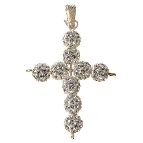 Croce con perle Swarovski bianco 3x3,5 cm 4