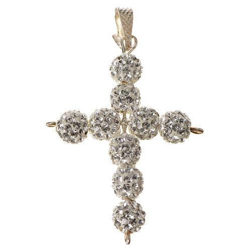 Croce con perle Swarovski bianco 3x3,5 cm 1