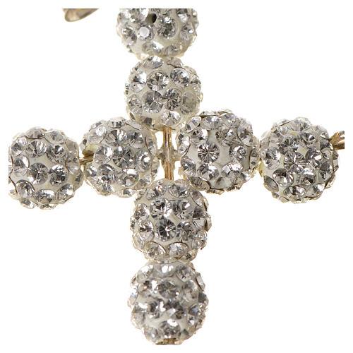 Croce con perle Swarovski bianco 3x3,5 cm 2