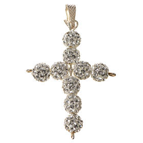 Krzyżyk z perłami Swarovskiego biały 3x3.5 cm s1