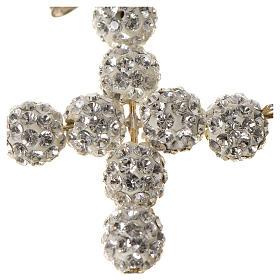 Krzyżyk z perłami Swarovskiego biały 3x3.5 cm s2