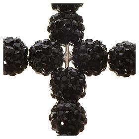 Croix avec perles Swarovski noires 3.5x3 cm s5