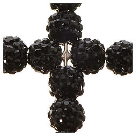 Croix avec perles Swarovski noires 3.5x3 cm s2
