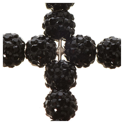 Croix avec perles Swarovski noires 3.5x3 cm 2