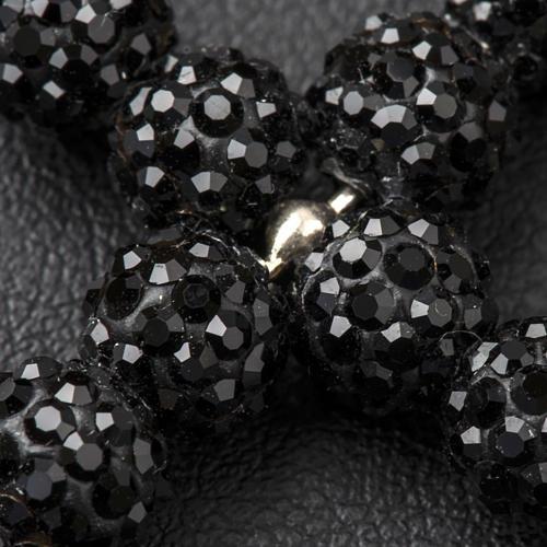 Croix avec perles Swarovski noires 3.5x3 cm 3