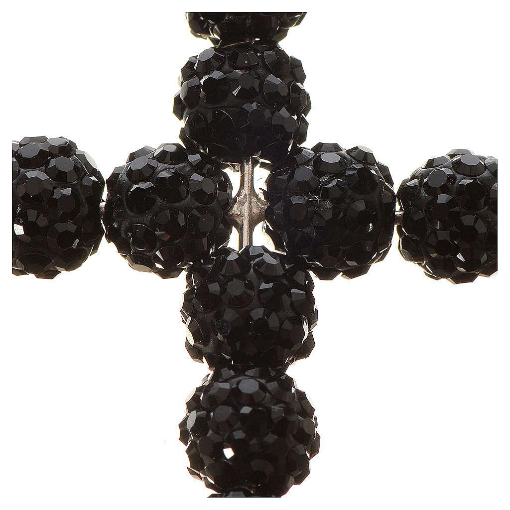 Croce con perle Swarovski nero 3x3,5 cm 4