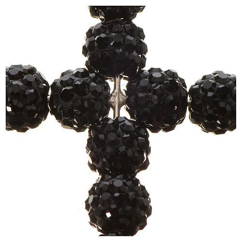 Croce con perle Swarovski nero 3x3,5 cm 2