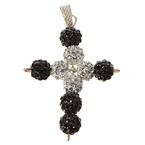 Croix avec perles Swarovski 3.5x3 cm 1