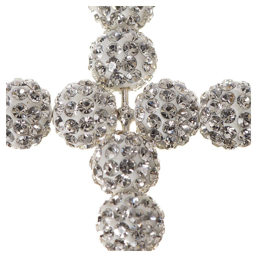 Croce con perle Swarovski bianco 5x4 cm 4