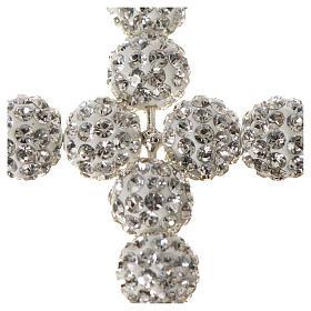 Croce con perle Swarovski bianco 5x4 cm s4
