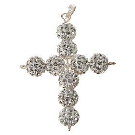 Croce con perle Swarovski bianco 5x4 cm s5