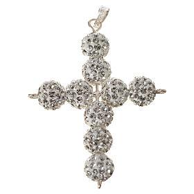 Croce con perle Swarovski bianco 5x4 cm s1