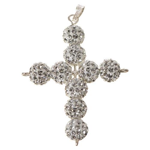 Croce con perle Swarovski bianco 5x4 cm 5