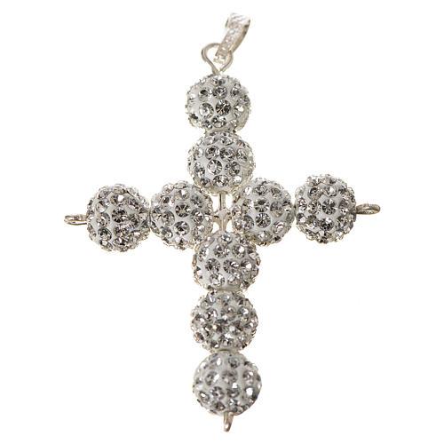 Croce con perle Swarovski bianco 5x4 cm 1
