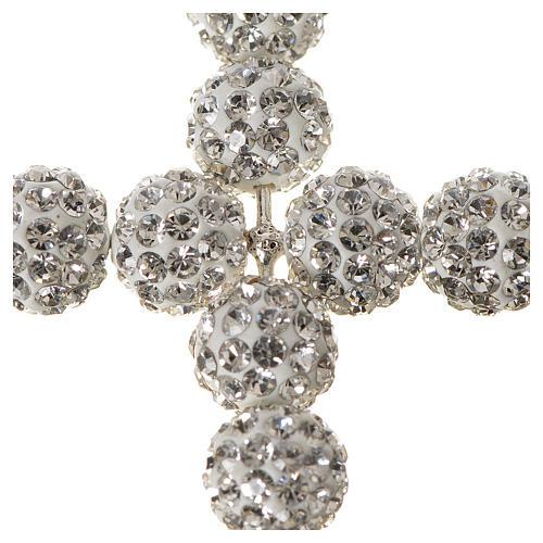 Croce con perle Swarovski bianco 5x4 cm 2