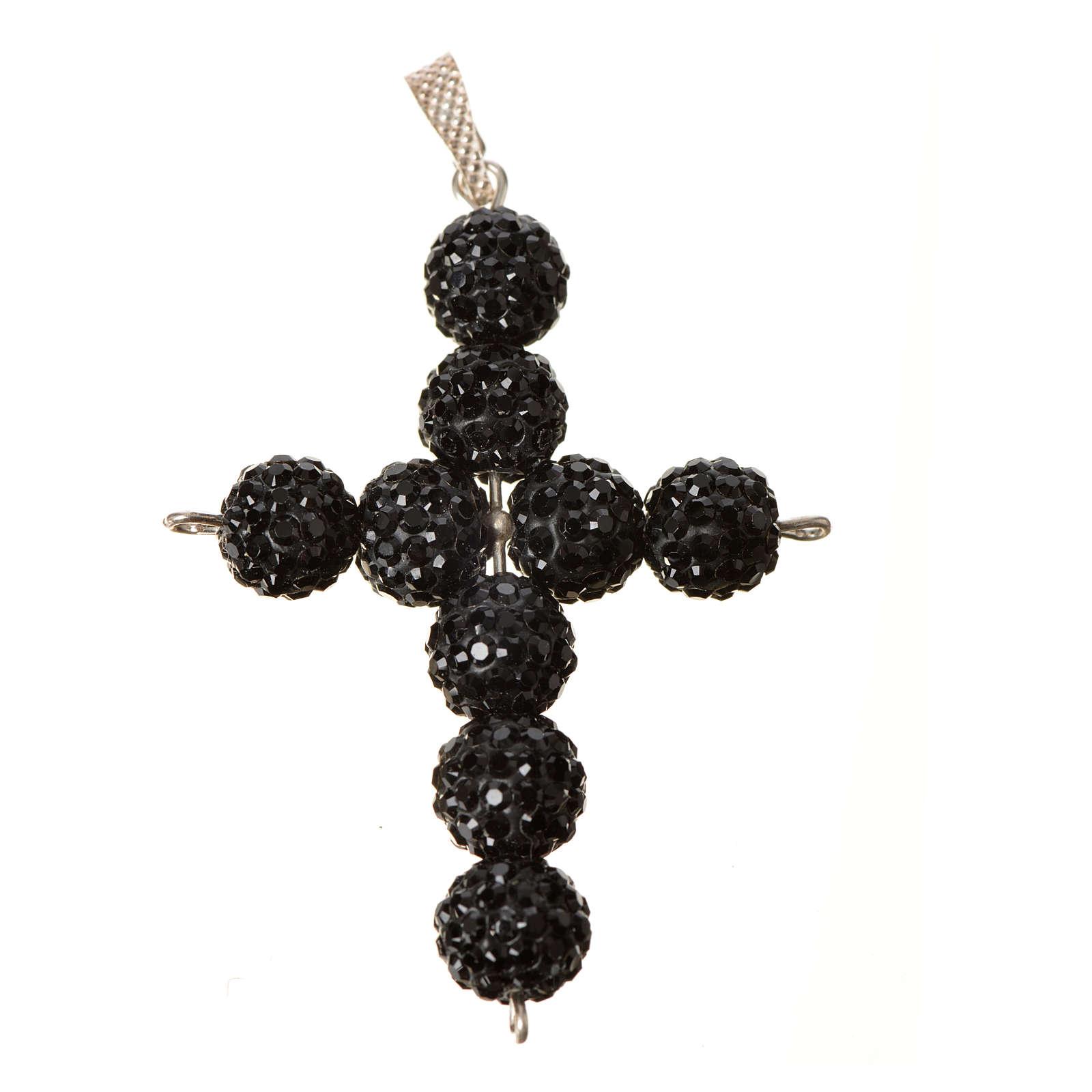 Croce con perle Swarovski nero 5x4 cm 4