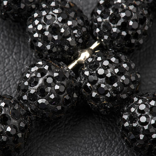 Croce con perle Swarovski nero 5x4 cm 3
