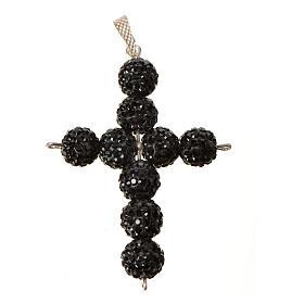 Krzyżyk z perłami Swarovskiego czarny 5x4 cm s4