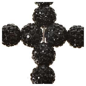 Krzyżyk z perłami Swarovskiego czarny 5x4 cm s2