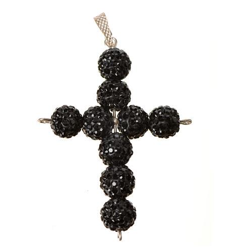 Krzyżyk z perłami Swarovskiego czarny 5x4 cm 4