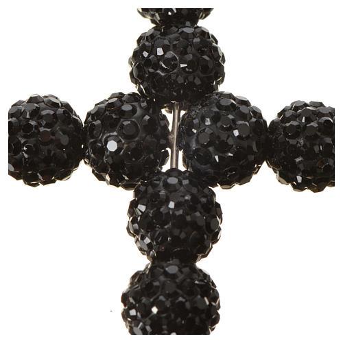 Krzyżyk z perłami Swarovskiego czarny 5x4 cm 5