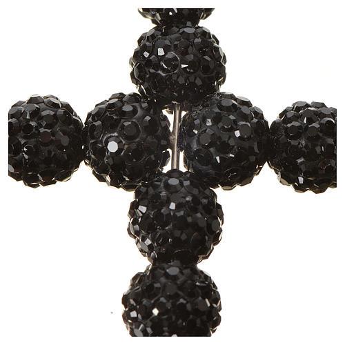 Krzyżyk z perłami Swarovskiego czarny 5x4 cm 2
