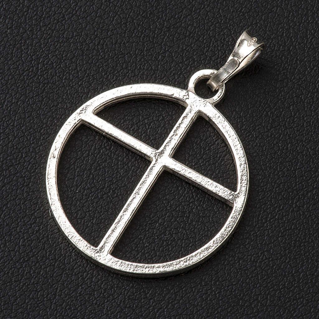 Cruz de círculo de plata 925 4