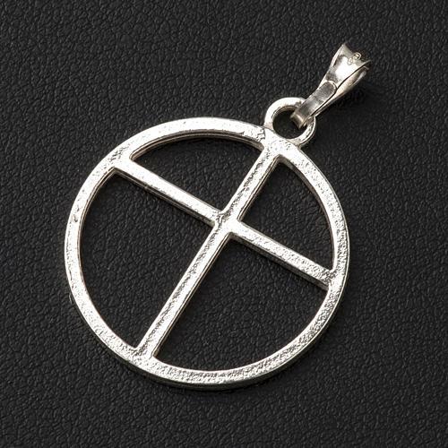 Cruz de círculo de plata 925 2