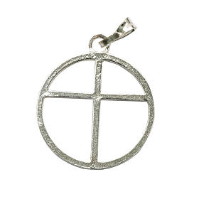 Sun cross pendant in silver 925 s1
