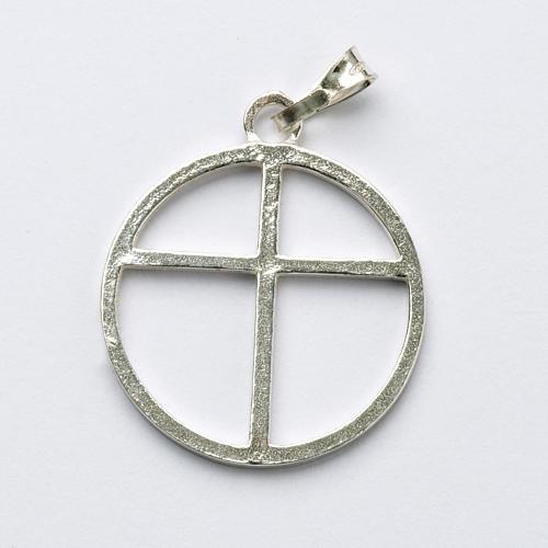Sun cross pendant in silver 800 1