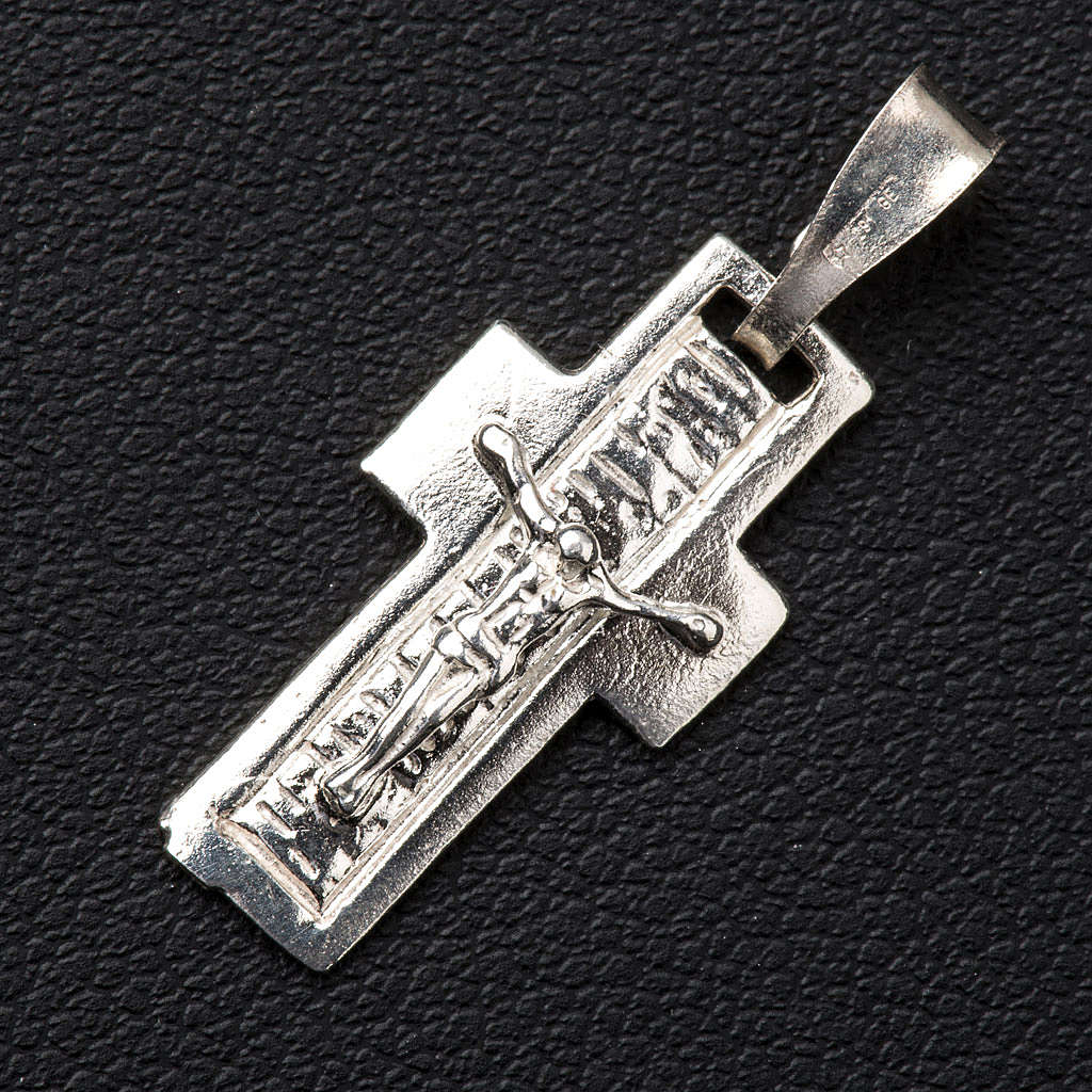 Pendant crucifix in silver, worked on back 4
