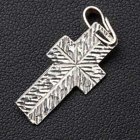 Pendant crucifix in silver, worked on back s3